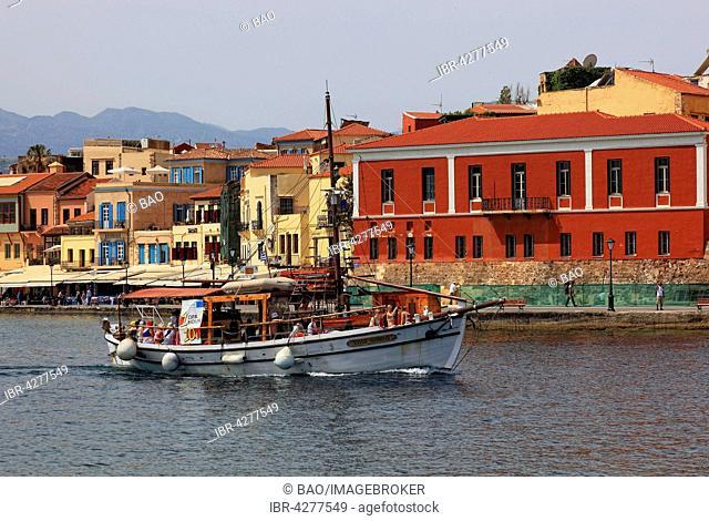 Sailboat, historic centre, harbour, Chania, Crete, Greece