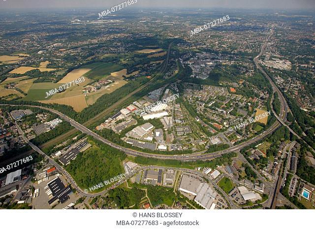 Aerial view, A40 closure, Ruhrschnellweg, cultural capital 2010 Essen, RUHR.2010 - Still Life on the A40, Mülheim an der Ruhr, Ruhr Area, North Rhine-Westphalia