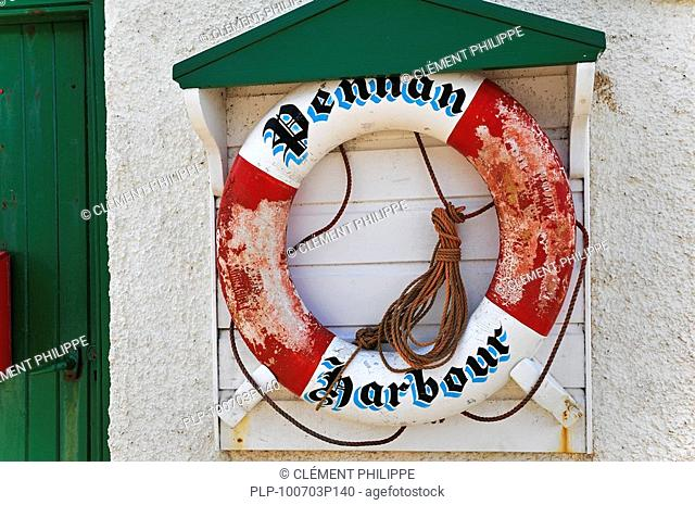 Life buoy in the harbour of the small coastal village Pennan in Aberdeenshire, Scotland, UK
