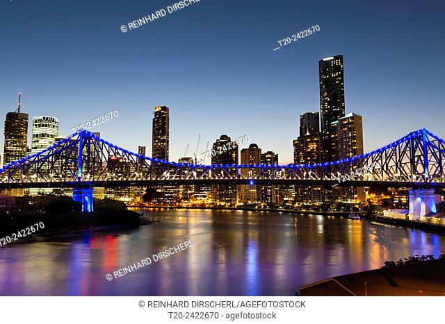 Skyline of Brisbane and Story Bridge, Brisbane, Australia