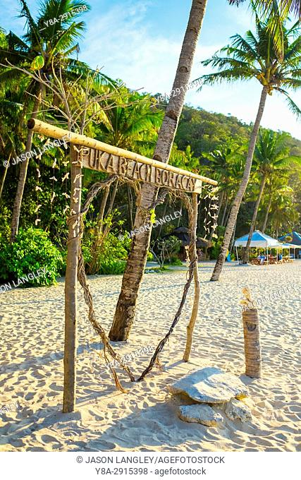 Sign made from wood branches on Puka Shell Beach, Boracay Island, Aklan Province, Western Visayas, Philippines