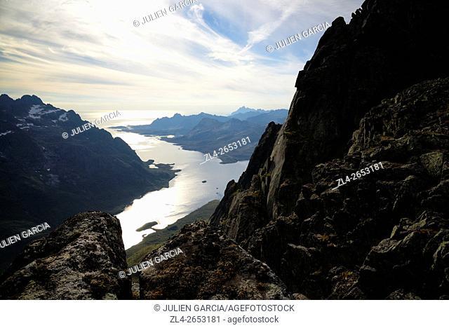 Norway, Nordland, Lofoten islands, Austvagoy island, view of Austnesfjord from the summit of Geitgaljartind (1085m)