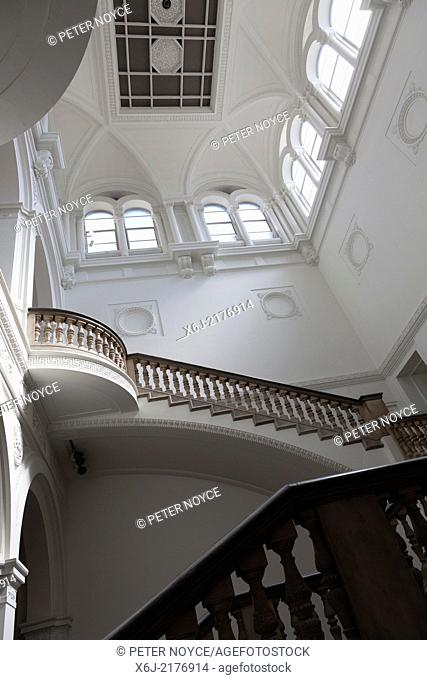 Architectural atrium and staircase in the Burlington Gardens building of the Royal Acamady