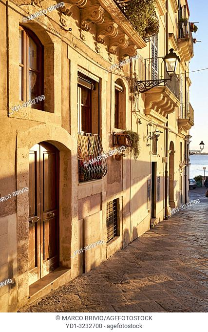 The charming streets and buildings of the old town of Syracuse Ortygia Sicily Italy
