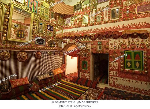 Living room of a traditional Tuareg house in Ghadames, Ghadamis, Libya