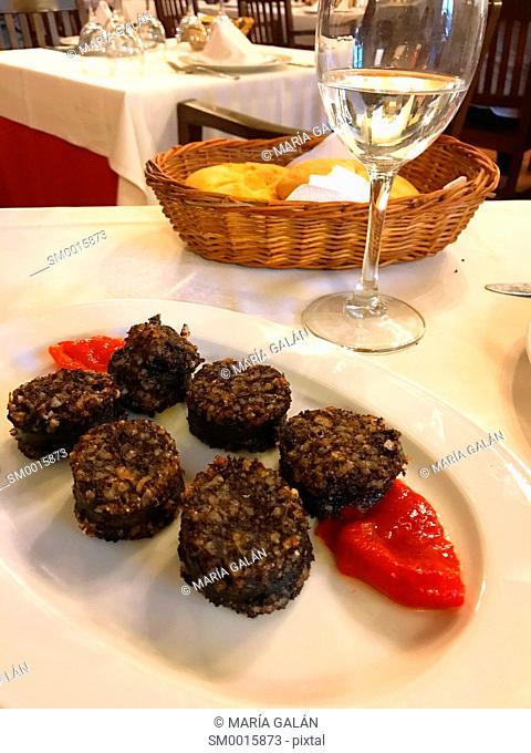 Morcilla with red pepper serving. Burgos, Spain