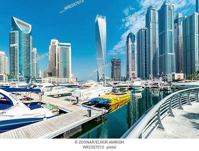 Dubai - AUGUST 9, 2014: Dubai Marina district on August 9 in UAE