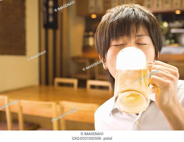 Man Having a Beer