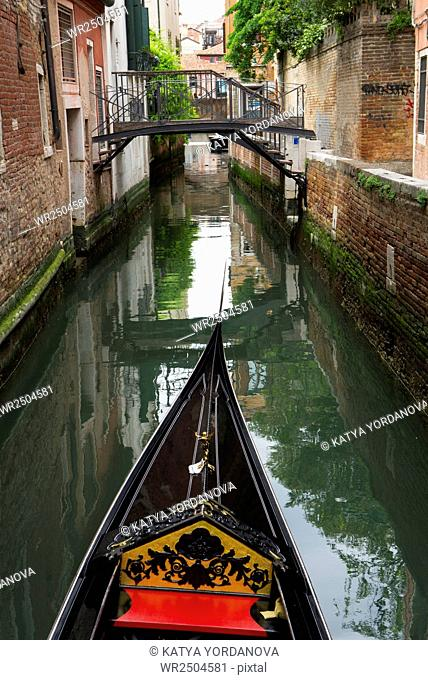 Venice, Italy. View from gondola during the ride through the canals