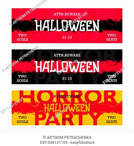 Halloween Horror party. Creative thematic horizontal banner. Three different version. Ready design. Vector illustration