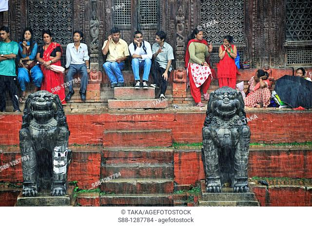 Shiva Parvati temple at Durbar Square on the rainy day