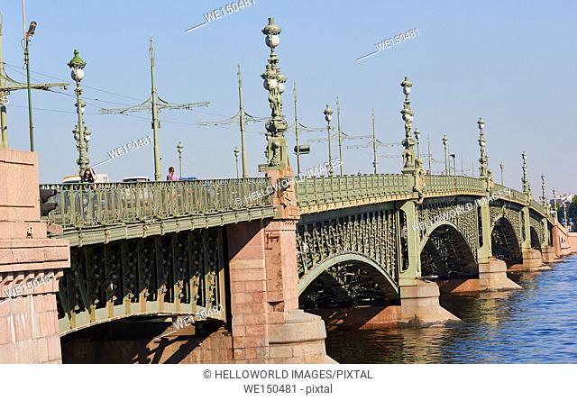 Art Nouveau Trinity Bridge opened in 1903, St Petersburg, Russia