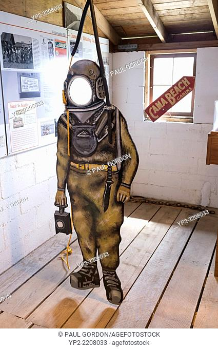 Carnival cutout of a atmospheric diving suit at the Center for Wooden Boats - Cama Beach State Park, Camano Island, Island County, Washington, USA