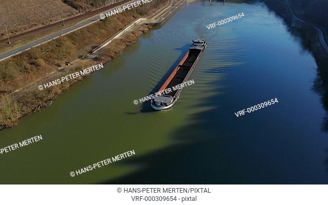 Cargo vessel on Saar river near Serrig, Rhineland-Palatinate, Germany
