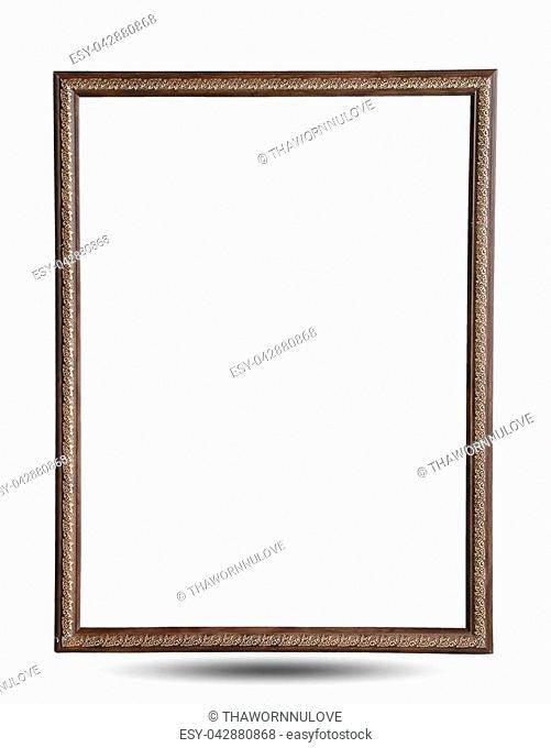 Close up old brown wooden picture frame isolated on white background