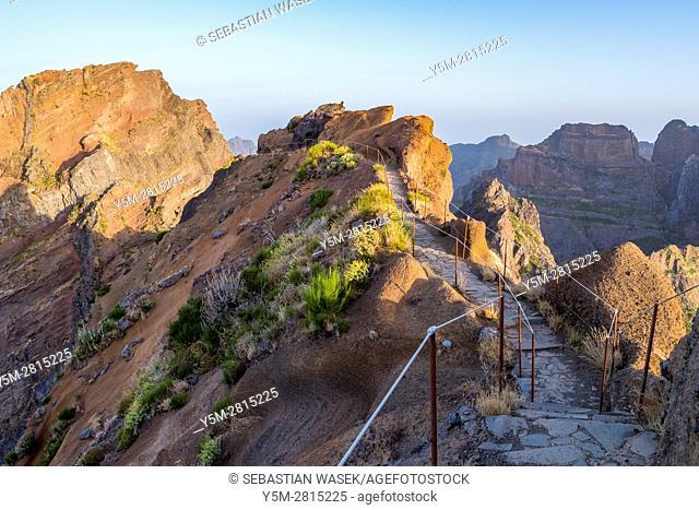 Pico do Cidrao seen from Hiking trail from Pico do Arieiro to Pico Ruivo, Madeira, Portugal