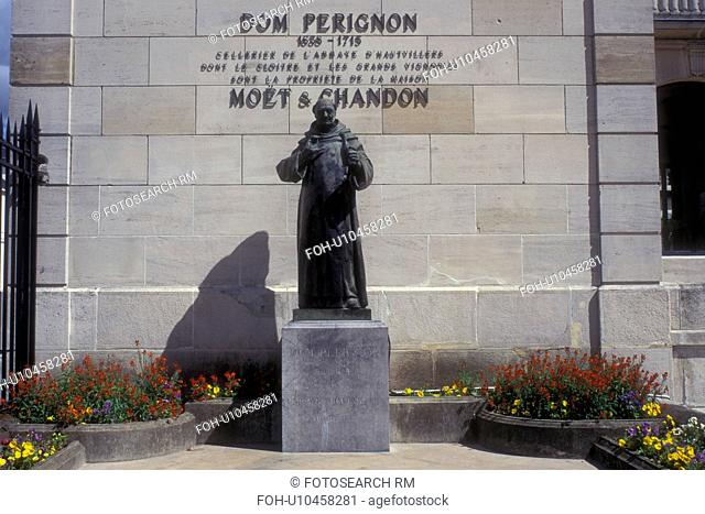 Epernay, Champagne, France, Marne, Europe, Statue of Dom Perignon stands in front of the Moet & Chandon Champagne House in the world renowned Champagne Region