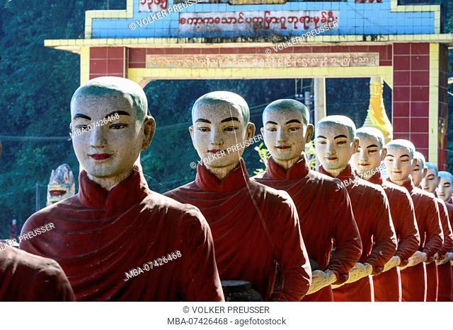 Hpa-An, life size statues of Arahant disciples of Buddha, near Mawlamyine at Kaw Ka Thawng Cave, Kayin (Karen) State, Myanmar (Burma)