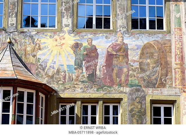 Painted house in the Town Hall square, Stein at the Rhine, Lake of Constance, Thurgau, Switzerland