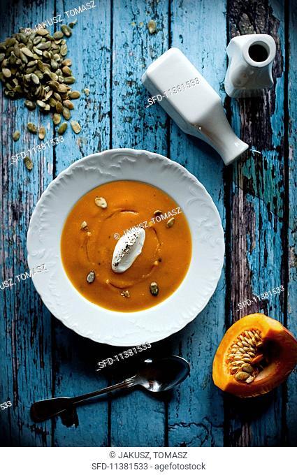 Butternut squash soup with crème fraîche