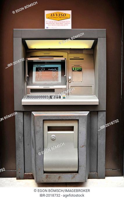 ATM, cash machine, Burano, Venice, Veneto region, Italy, Europe