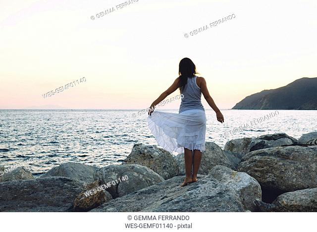 Back view of a woman standing on a rock in front of the sea at sunset