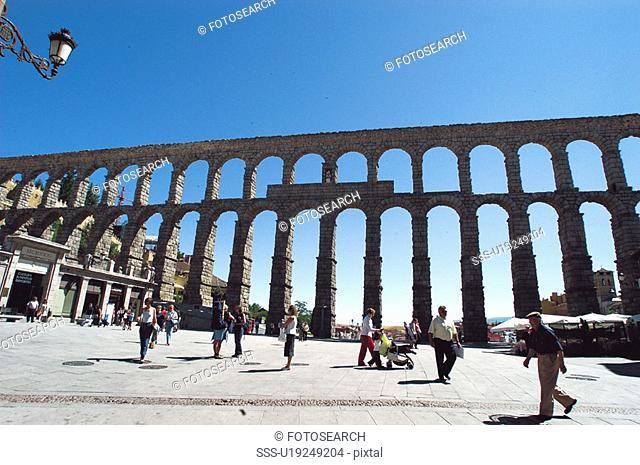 Spain, Castilla leon, Segovia, City, Monument, Aqueduct, Arch