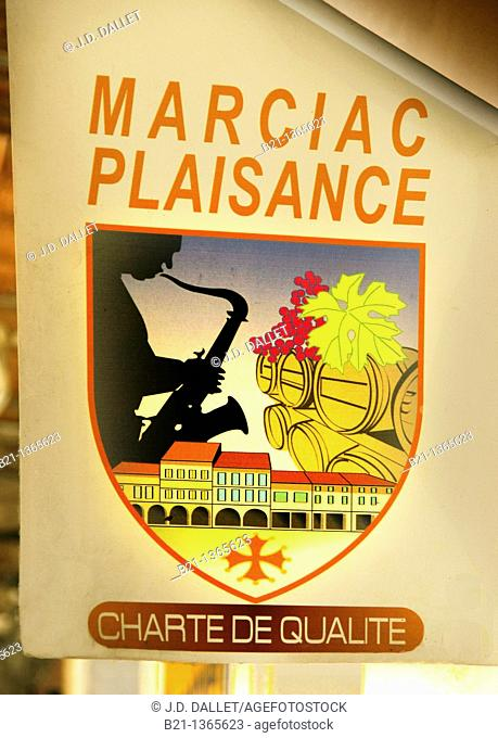 Marciac sign, with Jazz festival and old Bastide, Gers, Midi-Pyrenees, France