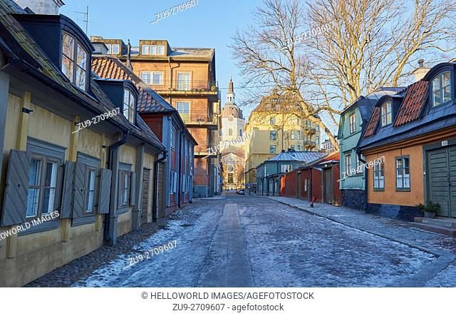 Traditional houses in Master Mikaels Gata with Katarina Church at road end, Sodermalm, Stockholm, Sweden, Scandinavia. . Neighbourhood is named after Michael...