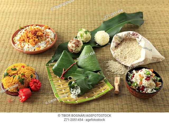 Rice, variety of ways of preparing and presenting,