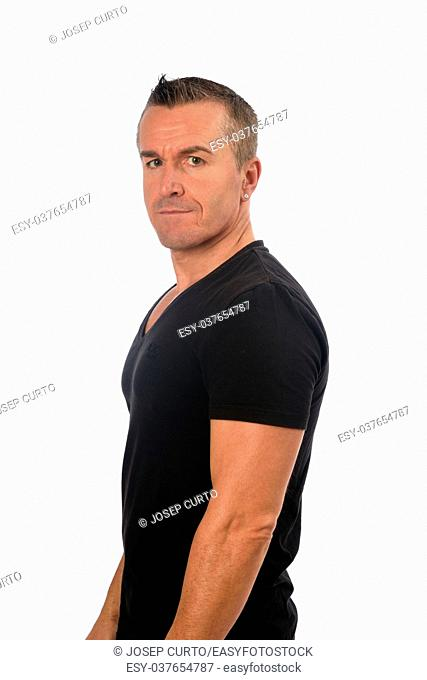 portrait of a man on white background,