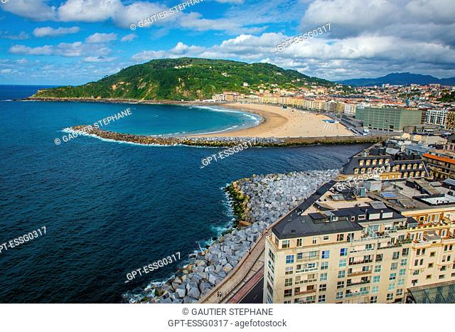 ZURRIOLA BEACH, THE KURSAAL CUBES, CONVENTION CENTER AND MOUNT ULIA, SAN SEBASTIAN, DONOSTIA, BASQUE COUNTRY, SPAIN