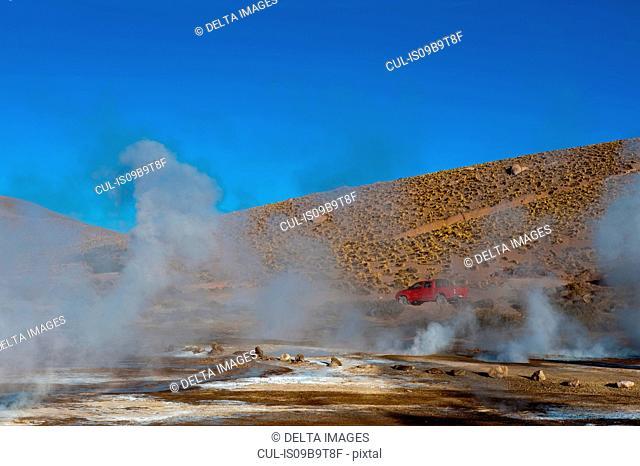 View of steaming El Tatio geyser field, Atacama Desert, Chile