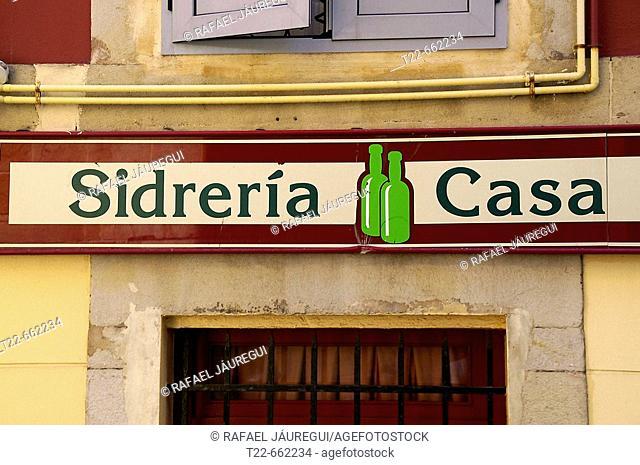 Cider house sign. Cimadevilla district at Gijon. Asturias. Spain