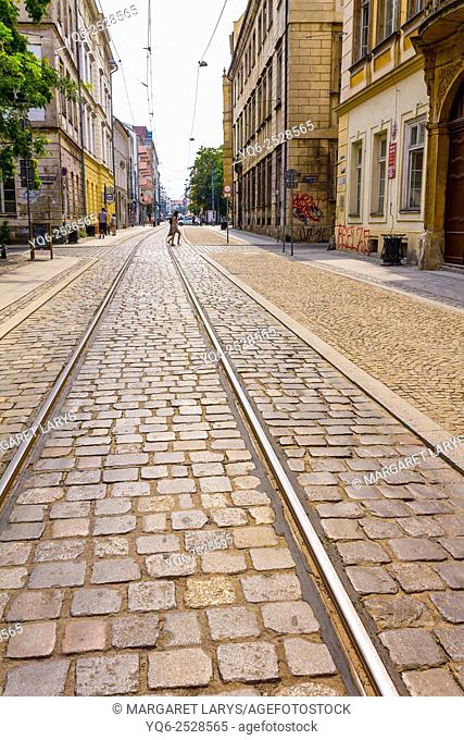 Old streets of Wroclaw with tram track and cobblestone close up, Poland