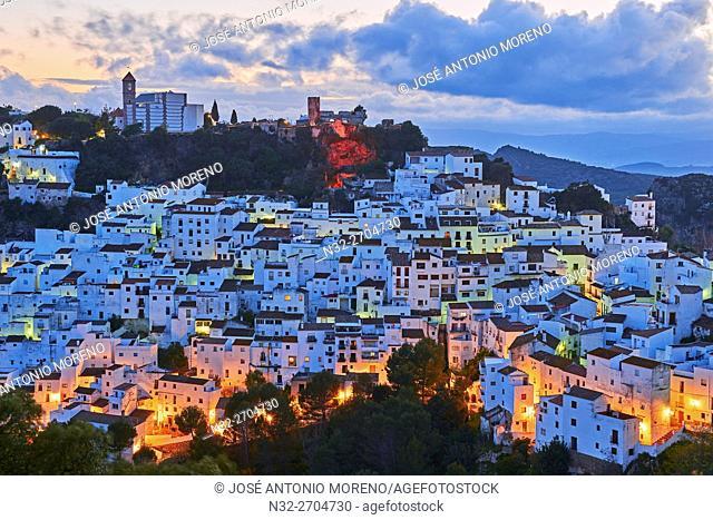 Casares, Dusk, Costa del Sol, Malaga Province, Andalusia, Spain