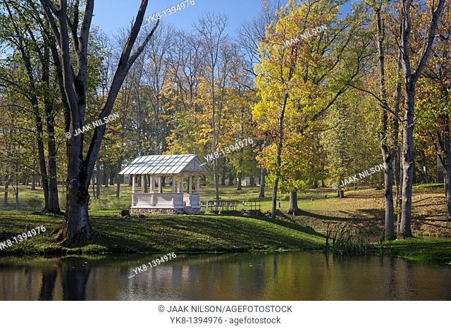 Wooden Arbor by Water in Fall, Luke Manor Park, Estonia