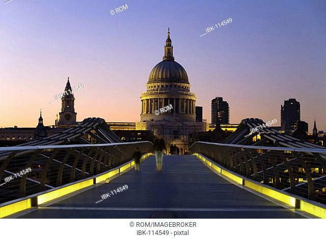 View from Millennium Bridge to St. Paul's Cathedral, London, England