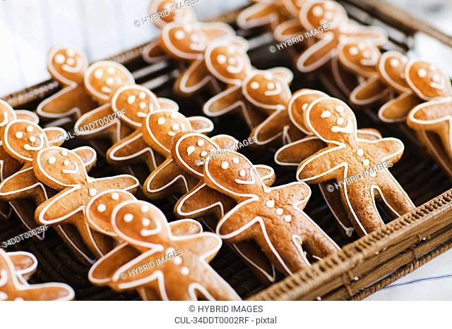 Close up of gingerbread men cookies