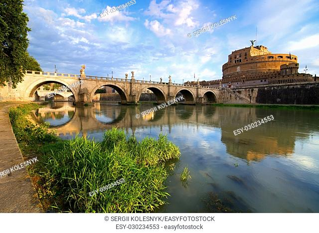 Castle and bridge of the Holy Angel in Rome, Italy