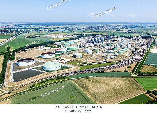Aerial view, Gunvor Ingolstadt refinery GmbH, Ingolstadt, Upper Bavaria, Bavaria, Germany