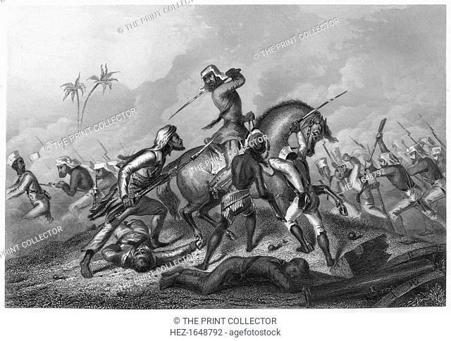 'Havelock's column attacking the mutineers before Cawnpoor', 1857, (c1860). British soldier Henry Havelock at Kanpur in India