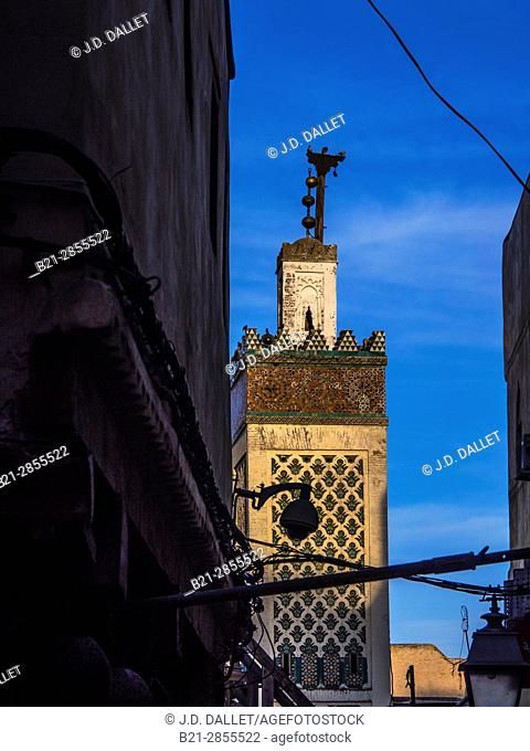 """Morocco, Fes, Mosque minar on Talaa Kbira, in the """"Medina"""" (old part) of Fes"""