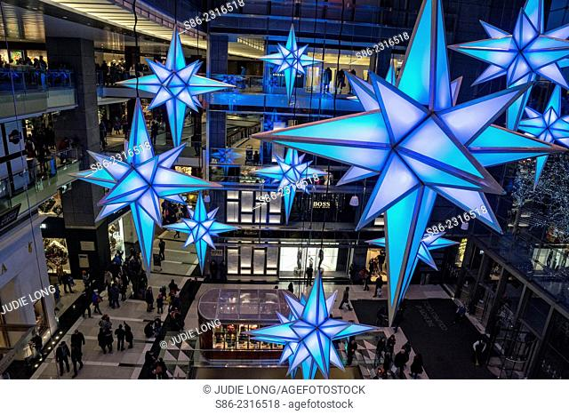 Giant Lighted Snowflakes, Suspended. Holiday Decoration at the Shops in Time Warner Center, New York City