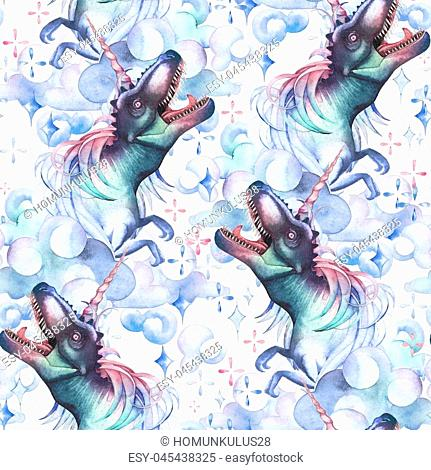 Watercolor Dinocorns. Pastel colored roaring tyrannosauruses with unicorn horn and mane surrounded by fantasy clouds and sparkles