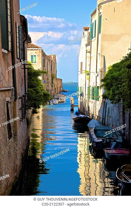 Boats on a canal, Castello, Venice, Italy
