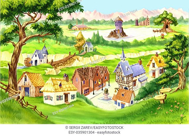 Fairytale Village. Digital Painting Background, Illustration in cartoon style character