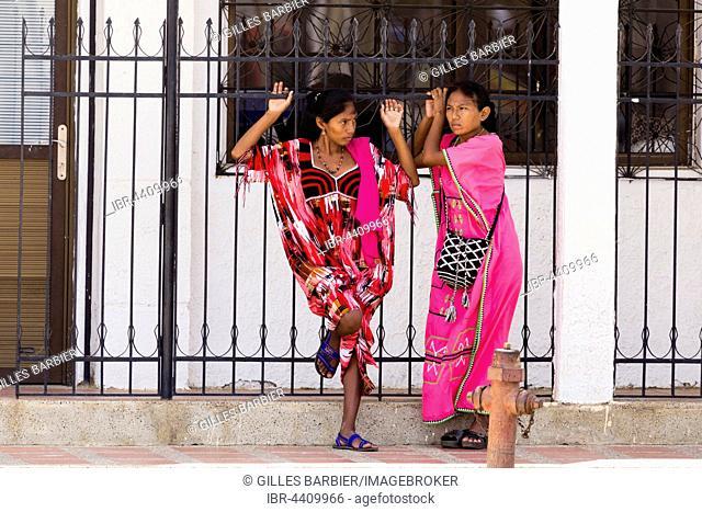 Wayuu or Guajiro women, indigenous people, Uribia, Colombia