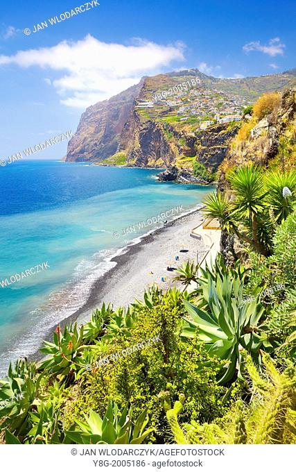 View at Cabo Girao (580 m highest) cliff - Camara de Lobos, Madeira, Portugal