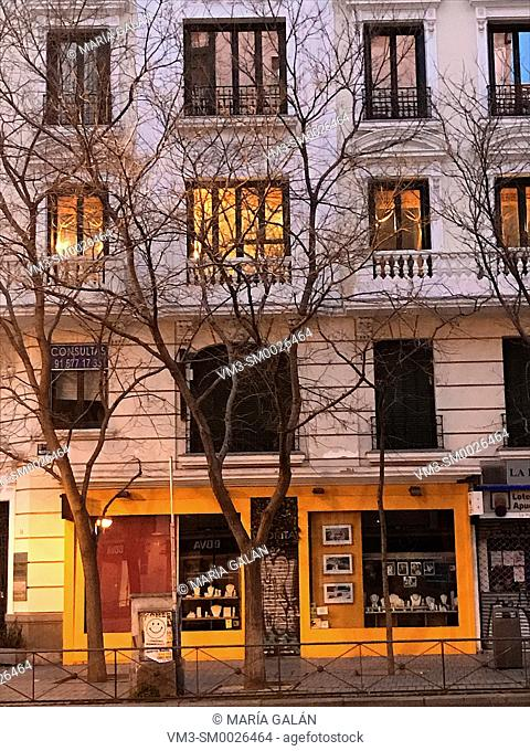 Facade of house. Narvaez street, Madrid, Spain